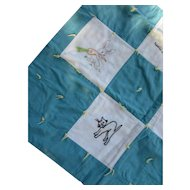 Darling Baby Quilt with Embroidered Animal Blocks with Teal Cotton Blocks Cat, Bird, Rabbit, Duck, Bear, Skunk