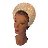 Wedding Corona Veil Cap White Satin & Lace