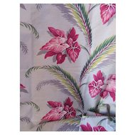 Vintage Bark Cloth Tropical Design Gray and Fuchsia Elephant Ears Green Fronds