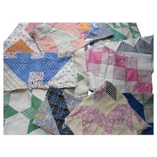 Vintage Quilt Blocks Variety Patterns Variety Fabrics Hand Stitched and Machine Stitched