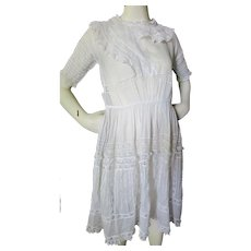 Adolescent 1920 Sheer Dress in White Insert Lace Pin Tucking and Ruffles