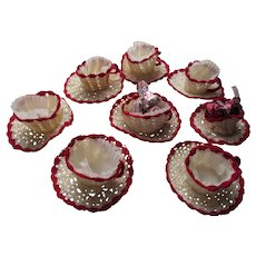 Cutest Cottage Style Hand Crochet Nut or Candy Cups in Form of Tea Cup Red and Cream Set of Eight Free Shipping USA