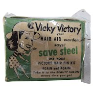 WW II Era Vicky Victory Hair AID Warden Hair Pin Kit Save Steel Ladies Vintage Hair Accessories Free Shipping USA
