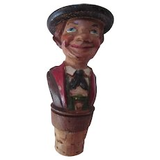 Carved Wood Cork Bottle Stopper Smiling Guy in Hat and Suit