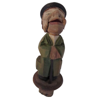 Wood Carved Cork Bottle Stopper of Man with Hinged Mouth
