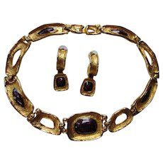 Dramatic Georgiou Set Choker Necklace and Earrings in Gold Tone Links with Grape Enamel Centers 1980/1990 Style