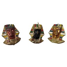 Eight Masonic Temple Pharaoh Stick Pins in Full Color Faces Gold Tone, Copper and Black and Nemes Crown