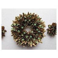Vintage Jewelry Set Brooch and Earrings in Spiky Gold Gesso Hosting Spring Green Rhinestones