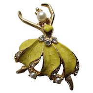 Graceful Ballerina Pin Brooch in Yellow Dress, Faux Pearl Face and Rhinestone Accents