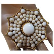 BSK Brooch Spider Web in White Beads and Gold Tone Mounting Booked