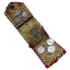 Religious Tokens or Medallions in Leather Wallet Benedicta Crux Philomena Pray For Us