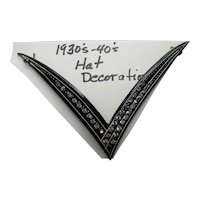 Deco Style V Shape Hat Decoration Black with Clear Rhinestones