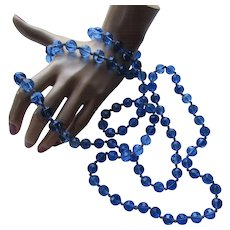 Cobalt Blue Opera Length Bead Necklace Full Length Double Strand or Triple Strand
