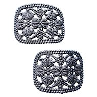 Vintage Shoe Buckles in Faux Cut Steel Style Metal Flourishes, Bead Edging, Open Work