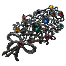 Large Flower Bouquet Brooch Open Work Mount and Jewel Tone Stones