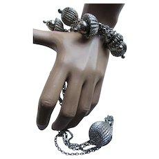 Bracelet Necklace Set Silver Tone Faux Vinaigrette Balls