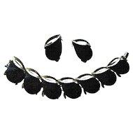 Confetti Style Mid Century Link Bracelet Earrings in Deep Brown with Gold Tone Flecks
