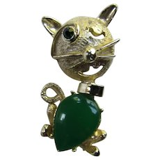 Goofy Cat Pin Winking Eye Green Body