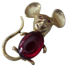 Cute Red Jelly Belly Mouse Brooch