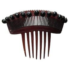 Vintage Hair Comb in Chestnut Brown and Arched Faceted Black Beads