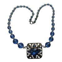 Blue Stone Necklace in Filigree Mount with Blue Beading Czechoslovakia Style