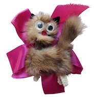 Fun Mink Cat Brooch Googly Eyes Chenille Feet on Pink Ribbon