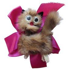 Fun Mink Cat Brooch Googly Eyes Chenille Feet on Pink Ribbon