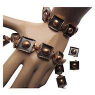 Signed Renoir Copper Demi Parure Set Necklace, Bracelet, Earrings Mid Century Design