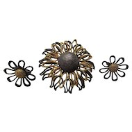 Brooch and Earring Set in Dimensional Mixed Tone Metal Pewter Tone and Gold Tone Open Work