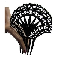 Vintage Hair Comb in Sophisticated Black with Open Work Fan and Faceted Faux Stones