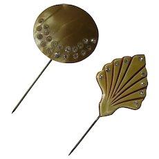 Pair Deco Style Hat Pins Brooch Decorations Celluloid & Rhinestones