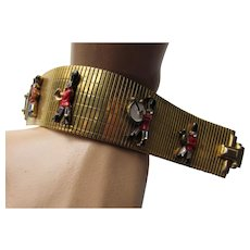 Vintage Link Bracelet with Marching Band in Red Black Uniforms