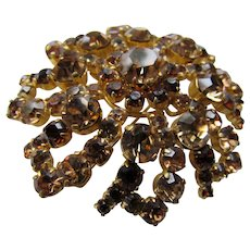Lovely Rhinestone Brooch in Autumn Colors of Amber and Root Beer Austria