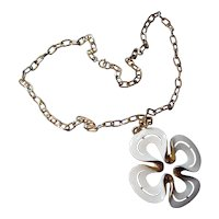Crown Trifari Pendant Necklace White Enamel Petal Design