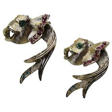 Pair Fish Scatter Pins Fancy in Gold Tone with Green and Pink Rhinestone Accents