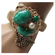 Vintage Gold Tone Mesh Stretch Bracelet with Faux Jade and Faux Pearl Stones and Chain Tassel