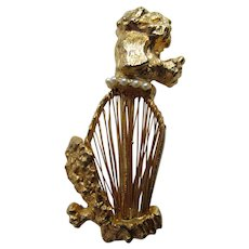 Little Vintage Poodle Pin in Gold Tone with Open String Body and Faux Pearl Collar