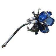 Outstanding Elizabeth Morrey Mid Century Floral Brooch in Cobalt Blue Petals and Silver Tone Stem