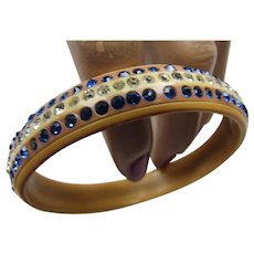 1930 Style Rhinestone Bangle Bracelet in Celluloid Clear and Blue Stones