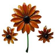 Vintage Enamel Flower Set of Brooch and Earrings Orange Tone Black Eyed Susans