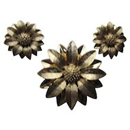 Sarah Coventry Satin Petal Set Brooch and Earrings in Gold Tone Polished and Satin Petals
