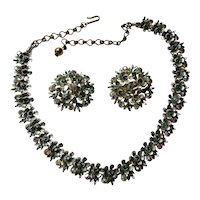Pretty Mid Century BSK Rhinestone Set Choker Necklace and Earrings