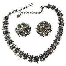 Pretty Mid Century BSK Rhinestone Set Choker Necklace and Earrings