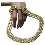 Vintage Necklace in Three Strands of Lemonade Yellow Faux Pearls Dimensional Flower Extenders Japan
