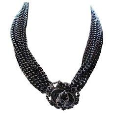 Judy Lee Demi Parure Pendant Necklace Bracelet Clip Earrings Faux Hematite