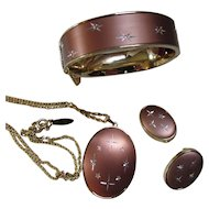 Whiting Davis Demi Parure in Cocoa Color Satin Finish with Incised Stars Pendant Bracelet Earrings Mid Century