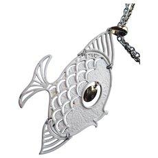 White Fish Necklace & Pendant 1970 Style