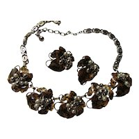 Handsome Vintage Link Necklace & Earrings Leaf Design in Black Speckled Brown