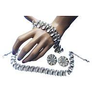 Demi Parure of Silver Tone Necklace, Bracelet, Earrings by ART Spoon Shape Links