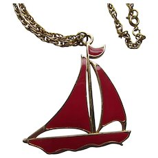 Red Sail Boat Enamel Pendant Necklace Perfect for Spring Summer